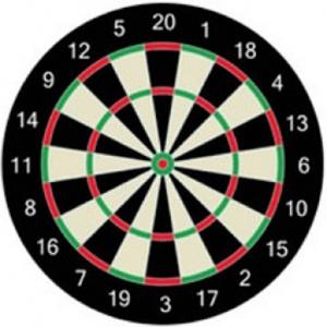 A traditional dartboard